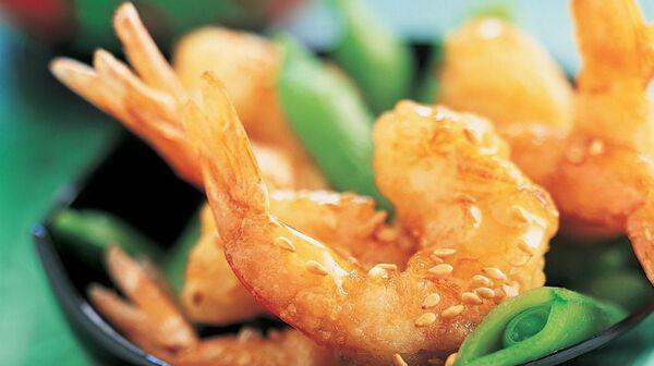 Crevettes au miel et au sésame