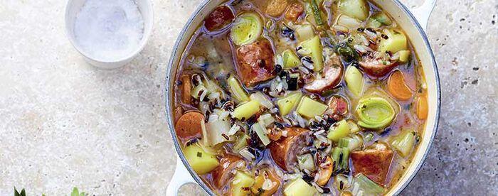 Soupe de légumes au riz et saucisse de Montbéliard