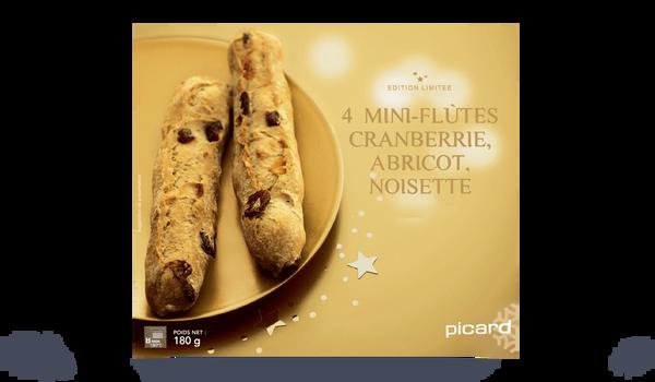 4 mini-flûtes cranberrie, abricot, noisette