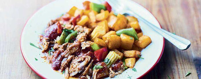Pulled Pork, pommes de terre épicées et légumes