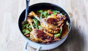 Confit de canard aux légumes verts