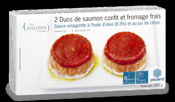 2 duos de saumon confit et fromage frais