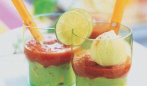 Verrines de guacamole et gaspacho, sorbet citron vert