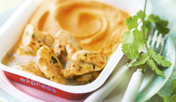 Poulet sauce citron vert, purée de patate douce