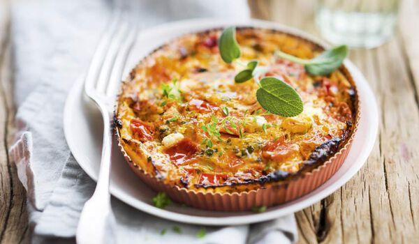 2 clafoutis tomates, fromages de chèvre et brebis