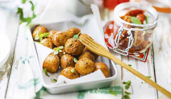 Boulettes de poulet à l'italienne, cuites