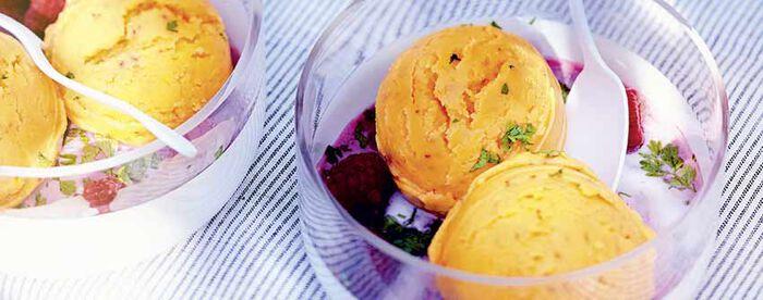 Sorbet mangue au lait de coco, coriandre et framboise