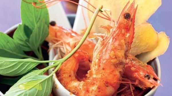 Crevettes sautées au gingembre