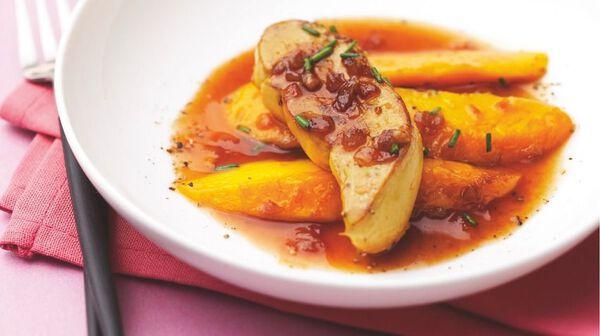 Recette escalopes de foie gras po l es aux mangues jus de porto et vinaigre balsamique - Comment cuisiner le foie gras cru ...