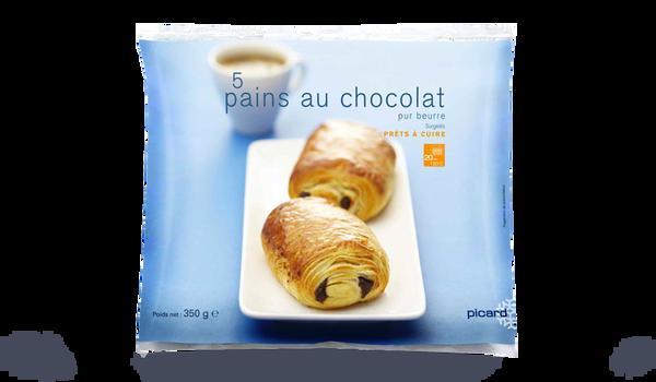5 pains au chocolat (2 barres), pur beurre