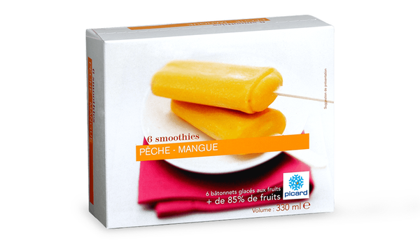 6 smoothies pêche-mangue, sorbet plein fruit