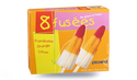 8 fusées, glaces à l'eau framboise, orange, citron