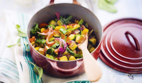 Légumes à l'italienne, courgette, épinard,poivrons