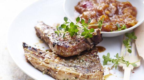 recette c tes d 39 agneau marin es chutney de mirabelles recettes les plats picard. Black Bedroom Furniture Sets. Home Design Ideas