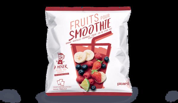 Fruits pour smoothie banane, myrtille, framboise
