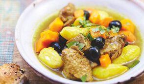 Tajine de veau au potiron, olives et citron confit