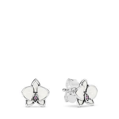 Srebrne kolczyki, ciemnoróżowa cyrkonia sześcienna, biała emalia