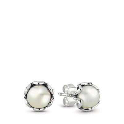 Ohrring, Sterling-Silber, weiße Süßwasserzuchtperle
