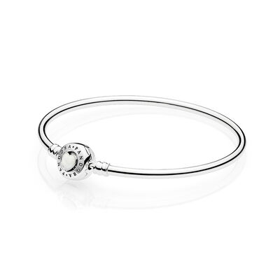 Moments Loving Heart Clasp Silver Bangle