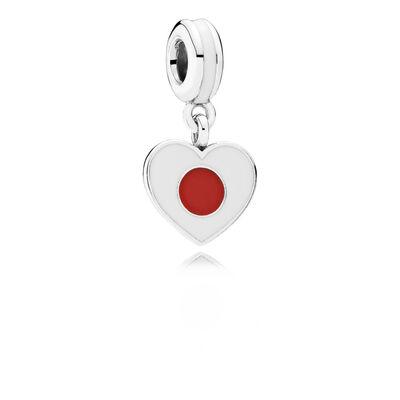Japan Heart Flag Pendant Charm