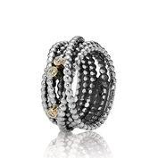 Entangled Beauty, Silver ring, 14k, 0.03ct TW h/vs diamonds