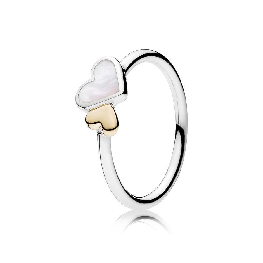 Artikel klicken und genauer betrachten! - Pandora Ringe 190998MOP-58 - Zwei Herzen verbinden sich, um bedingungslose Liebe darzustellen. Mit seiner wunderschönen Kombination aus Perlmutt, Sterling-Silber und 14-K-Gold wird dieses exquisite Design von jeder Frau geschätzt, die es erhält. - 190998MOP-58 Pandora Ringe   im Online Shop kaufen