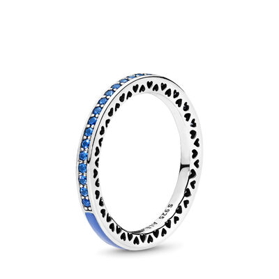 Strahlende Herzen blau Ring