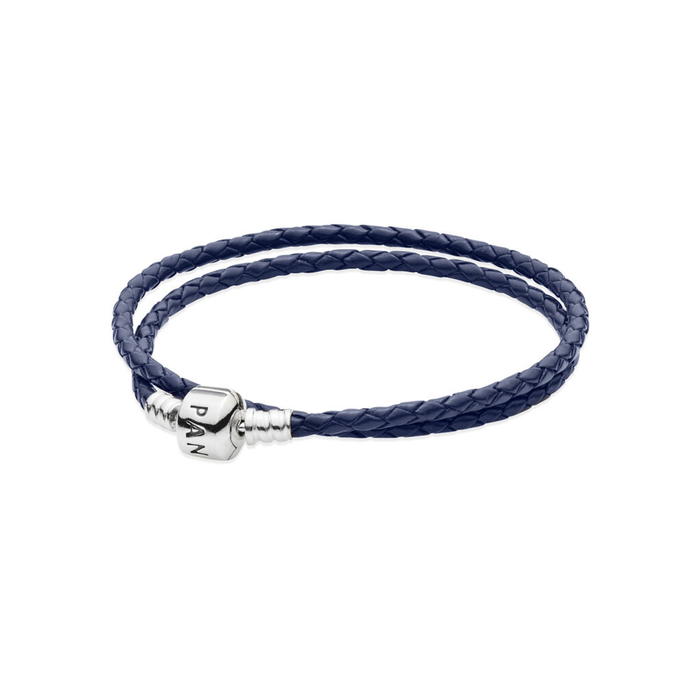 Double Bracelet Tressé en Cuir , Bleu nuit