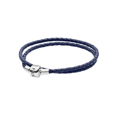 Moments Double Woven Leather Bracelet - Blue