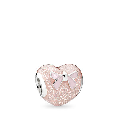 Pink Bow & Lace Heart Charm