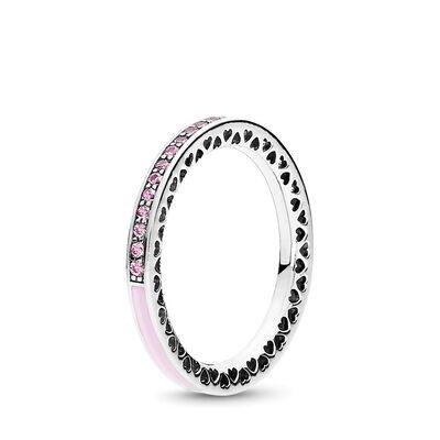 Strahlende Herzen rosa Ring