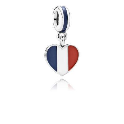 France Heart Flag Pendant Charm