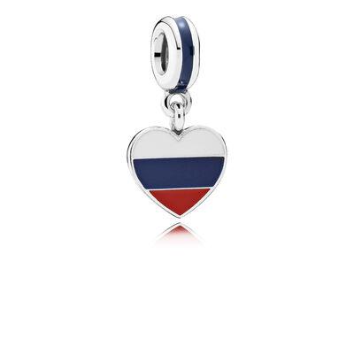 Russia Heart Flag Pendant Charm