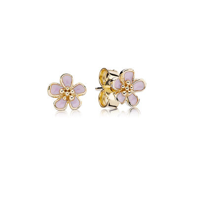 Pink Cherry Blossom Flower Stud Earrings