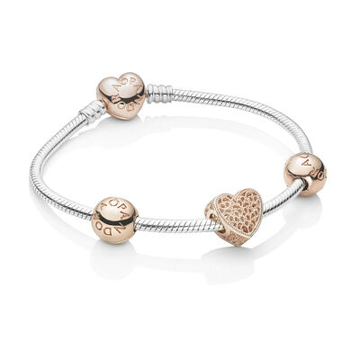 PANDORA Rose Heart Bracelet Set