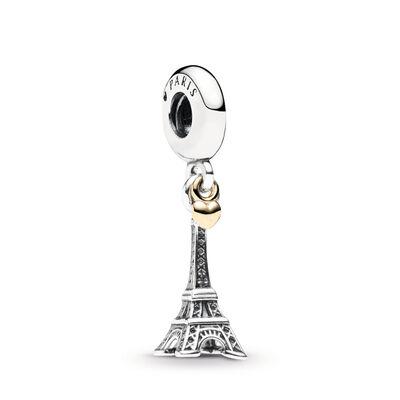 Eiffelturm Gold-Herz Anhänger Charm