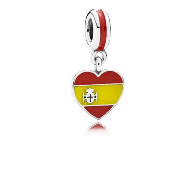 Spain Heart Flag Pendant Charm