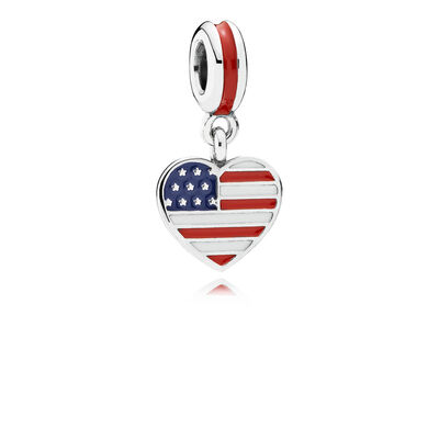 US Heart Flag Pendant Charm