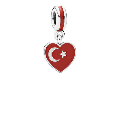 Turkey Heart flag Pendant Charm