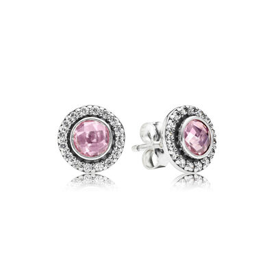 Statement Pink Sparkling Stud Earrings