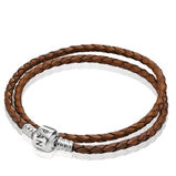 Moments Double Woven Leather Bracelet - Brown