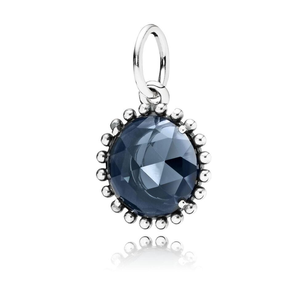 Pendentif en Argent 925/1000e et cristal couleur bleu nuit