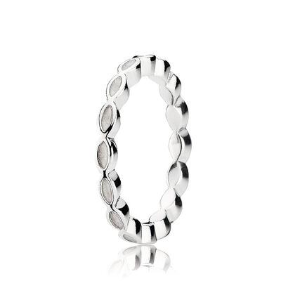 White Enamel Twist Ring