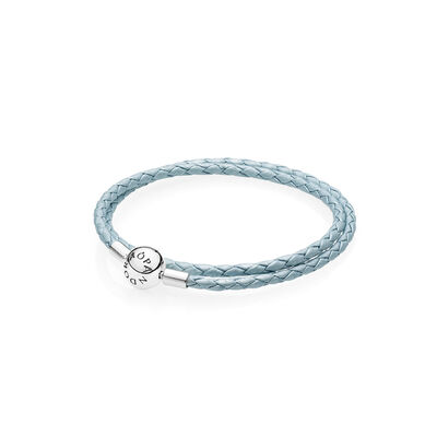Moments Double Woven Leather Bracelet - Light Blue