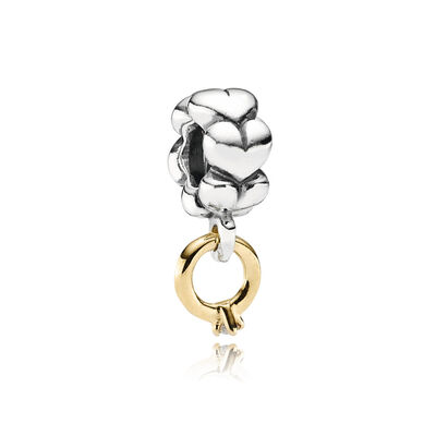 Solitaire, ring silver dangle with 14k, 0.02ct h/vs diamond