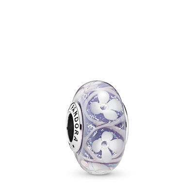 Purple Bloom Murano Glass Charm