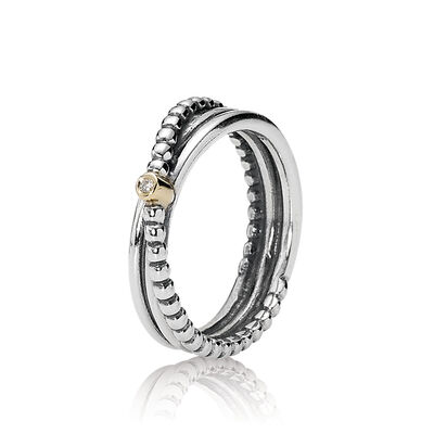 Rising Star, Silver ring, 14k, 0.01ct TW h/vs diamond