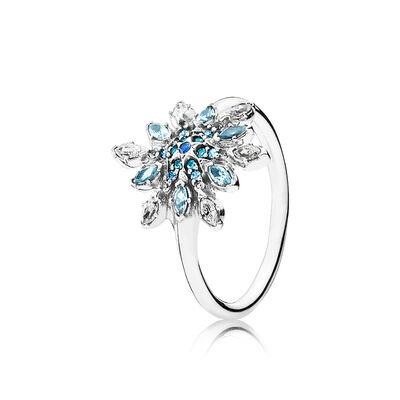 Eisblauer Schneestern Ring