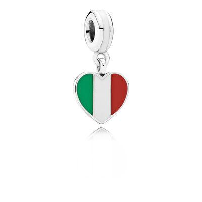 Italy Heart Flag Pendant Charm