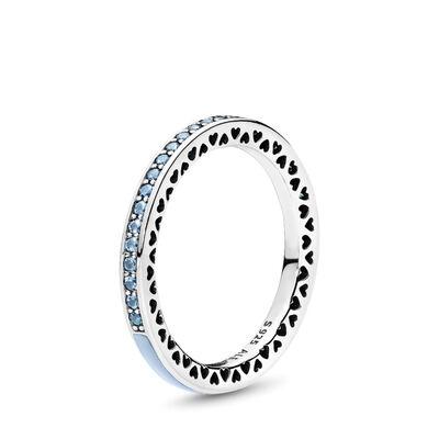 Strahlende Herzen hellblau Ring